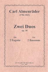 Almenräder, Carl: 2 Duos op.10 für 2 Fagotte Partitur und Stimmen