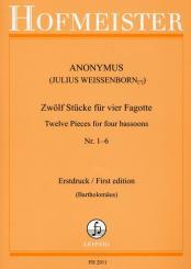 Anonymus: 12 Stücke Band 1 (Nr.1-6 ) für 4 Fagotte Partitur und Stimmen