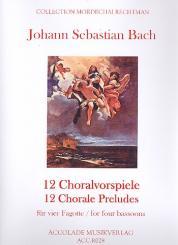 Bach, Johann Sebastian: 12 Choralvorspiele für 4 Fagotte, Partitur und Stimmen