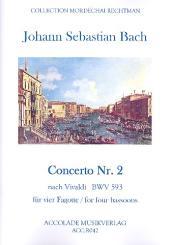 Bach, Johann Sebastian: Concerto a-Moll Nr.2 BWV593 nach Vivaldi für 4 Fagotte, Partitur und Stimmen