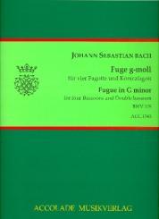 Bach, Johann Sebastian: Fuge g-Moll BWV578 für 4 Fagotte und Kontrafagott, Partitur und Stimmen
