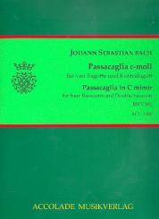 Bach, Johann Sebastian: Passacaglia c-Moll BWV582 für 4 Fagotte und Kontrafagott, Partitur und Stimmen