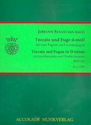 Bach, Johann Sebastian: Toccata und Fuge d-Moll BWV565 für 4 Fagotte und Kontrafagott, Partitur und Stimmen