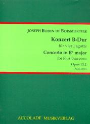 Boismortier, Joseph Bodin de: Konzert B-Dur op.15,1 für 5 Flöten für 4 Fagotte, Partitur und Stimmen