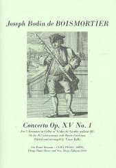 Boismortier, Joseph Bodin de: Concerto op.15,1 for 5 bassoons (violas da gambas) (4-5 instruments and Bc), score and parts