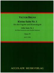 Bruns, Victor: Kleine Suite Nr.1 op.55 für 3 Fagotte und Kontrafagott, Partitur und Stimmen