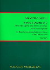 Corelli, Arcangelo: Sonata a quattro in C für 3 Fagotte und Bc (4 Fagotte), Partitur und Stimmen (Bc ausgesetzt)