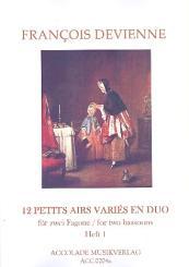 Devienne, Francois: 12 petits airs varies en duo Band 1 (Nr.1-6) für 2 Fagotte, Partitur und Stimmen