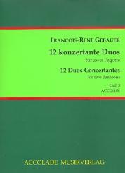 Gébauer, Francois-Réné: 12 duos concertants op.44 Band 3 (Nr.7-9) für 2 Fagotte, Partitur und Stimmen