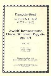 Gébauer, Francois-Réné: 12 duos concertants op.44 Band 4 (Nr.10-12) für 2 Fagotte, Partitur und Stimmen