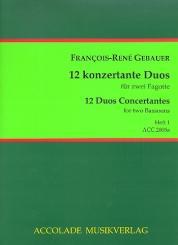 Gébauer, Francois-Réné: 12 duos concertants op.44 Band 1 (Nr.1-3) für 2 Fagotte, Partitur und Stimmen