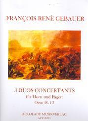 Gébauer, Francois-Réné: Duos concertants op.48,1-3 für Horn in F und Fagott
