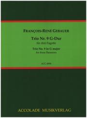 Gébauer, Francois-Réné: Trio G-Dur Nr.9 für 3 Fagotte, Partitur und Stimmen