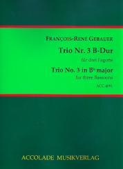 Gébauer, Francois-Réné: Trio B-Dur Nr.3 für 3 Fagotte, Partitur und Stimmen