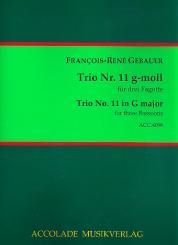 Gébauer, Francois-Réné: Trio g-Moll Nr.11 für 3 Fagotte, Partitur und Stimmen