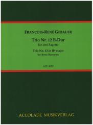 Gébauer, Francois-Réné: Trio B-Dur Nr.12 für 3 Fagotte, Partitur und Stimmen