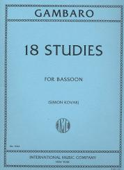 Gambaro, Giovanni Battista: 18 Studies for bassoon