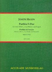 Haydn, Franz Joseph: Parthia F-Dur Hob.II:F12 für 2 Oboen, 2 Hörner und Fagott, Partitur und Stimmen