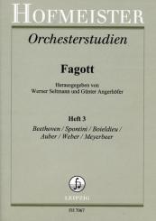 Orchesterstudien für Fagott Band 3 Beethoven, Spontini, Boieldieu, Auber, Weber, Meyerbeer