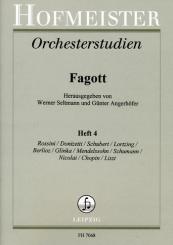 Orchesterstudien Fagott Band 4 Rossini, Donizetti, Schubert, Lortzing, Berlioz, Glinka, Mendelssohn u.a.