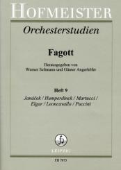 Orchesterstudien Fagott Band 9 Janácek, Humperdinck, Martucci, Elgar, Leoncavallo, Puccini