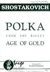Schostakowitsch, Dimitri: Polka from the Ballad Age of Gold for flute, oboe, clarinet, horn in F and bassoon, score and parts