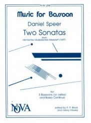 Speer, Daniel Georg: 2 Sonatas for 3 bassoons (celli) and bc, score+3parts