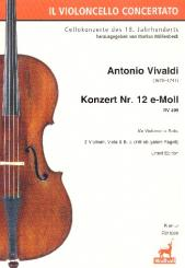 Vandini, Antonio: Konzert e-Moll Nr.12 RV409 für Violoncello solo, Fagott, 2 Violinen, Viola und Bc, Partitur